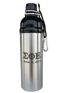 Personalized Black Stainless Steel Water Bottle