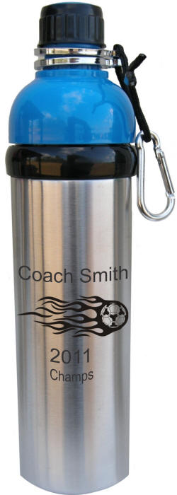 Personalized Blue Stainless Steel Water Bottle