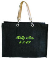 Personalized Black Flat Bottom Jute Tote Bag