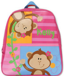 Personalized Pink Monkey Kids Backpack
