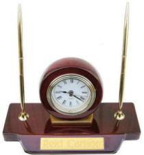 Piano Finish Desk Clock and Pens