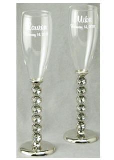 Personalized Crystal Stem Champagne Flutes