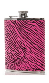 Pink & Black Zebra Stripe Flask