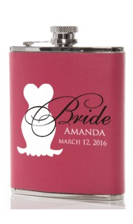 Bride Dark Pink Leather Flask