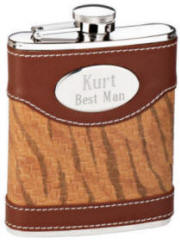 Engraved Genuine Leather Brown Flask
