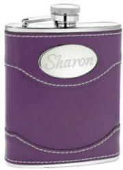 Engraved Purple Genuine Leather Flask