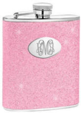 Personalized Pink Glitter Flask