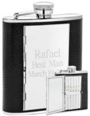 Personalized 6 oz Leather Cigarette Flask