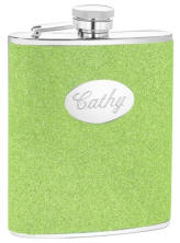 Engraved Green 6 oz. Glitter Flask