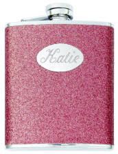 Engraved Hot Pink Glitter Flask