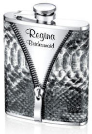 Personalized Faux Snakeskin Zipper Flask