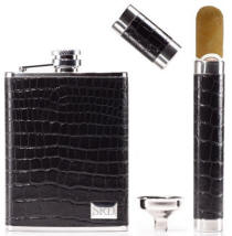 Leather Wrapped Flask and Cigar Tube Set