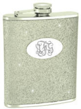 Engraved Silver Glitter Flask