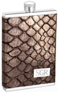 Engraved 3 oz. Square Flask Metallic Grey