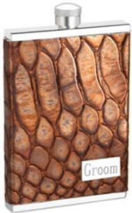 Engraved 3 oz. Square Flask Metallic Brown