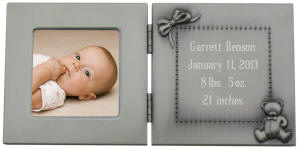 Pewter Finish Hinged Engraved Baby Photo Frame