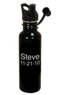 Personalized Black 25 oz Stainless Steel Water Bottle