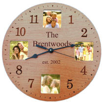 Personalized Cherry Finish Photo Clock