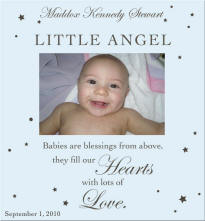 little angel blue engraved photo frame