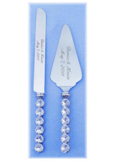 Knife & Server Set with Crystals in Handles