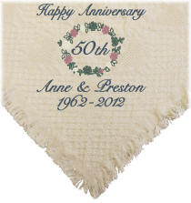 Embroidered Floral Wreath Anniversary Afghan
