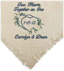 Embroidered Two Hearts Together as One Wedding Afghan