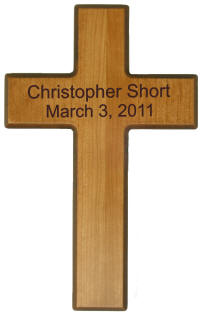 Personalized Cherry Finish Wooden Beveled Cross