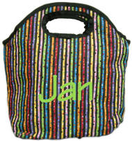 Confetti Stripe Personalized Insulated Lunch Tote