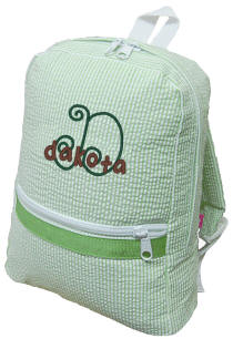 Lime Seersucker Backpack