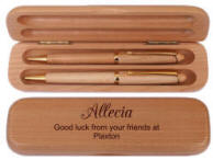 Maple Wood Pen-Pencil Set with Maple Case