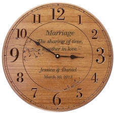 Large 17in Round Light Cherry Finish Personalized Wall Clock