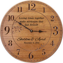 Large 17 in Round Cherry Finish Personalized Wall Clock