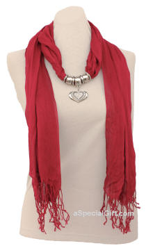 Scarf with Triple Hearts