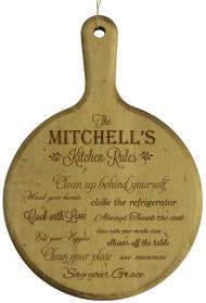 Personalized Artisan Kitchen Rules Round Board