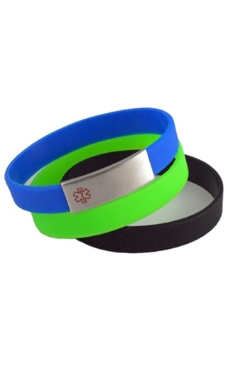 Blue, Black & Green Silicone Medical Id Bracelet Set