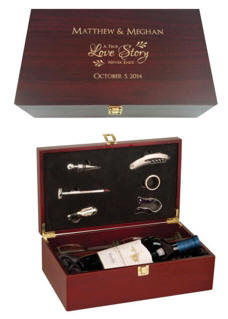 Engraved Wine Box with Tools and Glasses