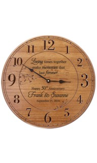 17 inch. Personalized Anniversary Wood Clock