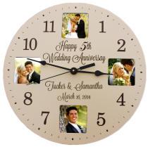 Personalized Ivory Anniversary Photo Clock