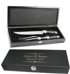 Personalized Sarge Meat Carving Set with wooden gift box
