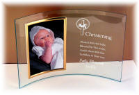 5 x 7 Curved Beveled Glass Christening Frame