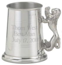 Personalized 20 oz. Pewter Lion Handled Tankard