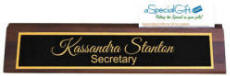 Personalized 10 in. Walnut Desk Nameplate with Business Card Cutout