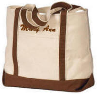Canvas Tote Bag with Chocolate Brown Trim