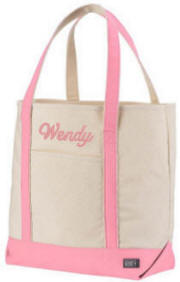 Canvas Tote Bag with Pink Trim