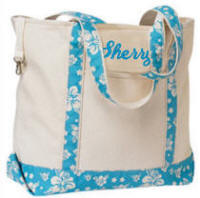 Canvas Tote Bag with Hawaiian Blue Trim