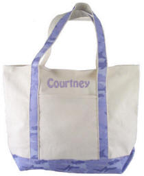 Canvas Tote Bag with Purple Camo Trim