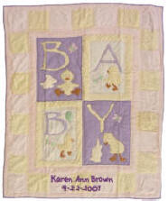 Pink Ducky Personalized Baby Quilt