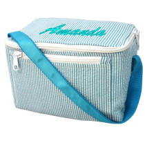 Aqua Seersucker Lunch Box