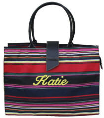 Personalized Multi-Color Striped Tote