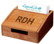 Personalized bamboo business card holder